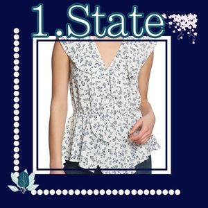 1. State White & Blue Floral Peplum Top NWOT Small